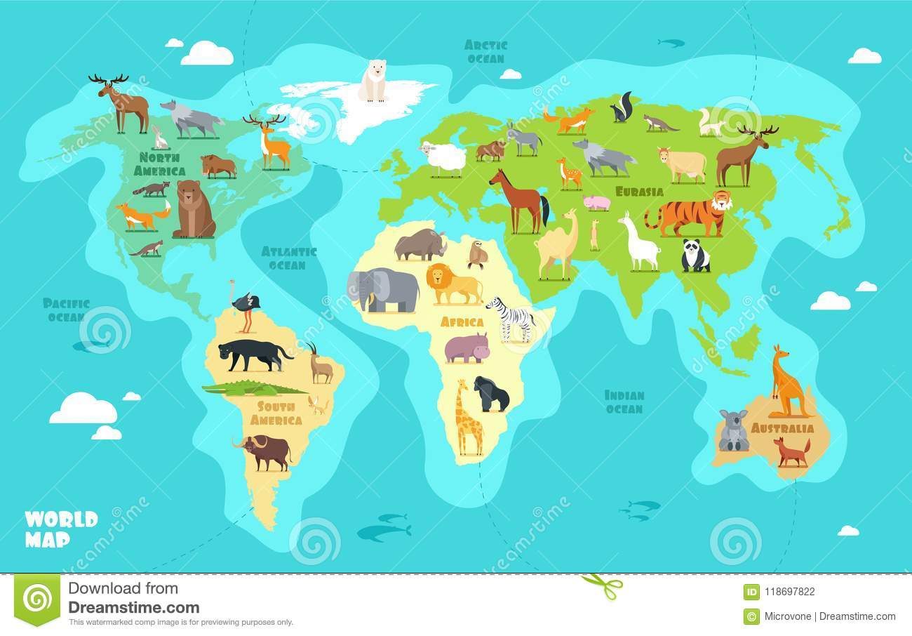 Cartoon World Map With Animals Oceans And Continents Funny Geography For Kids Education Vector
