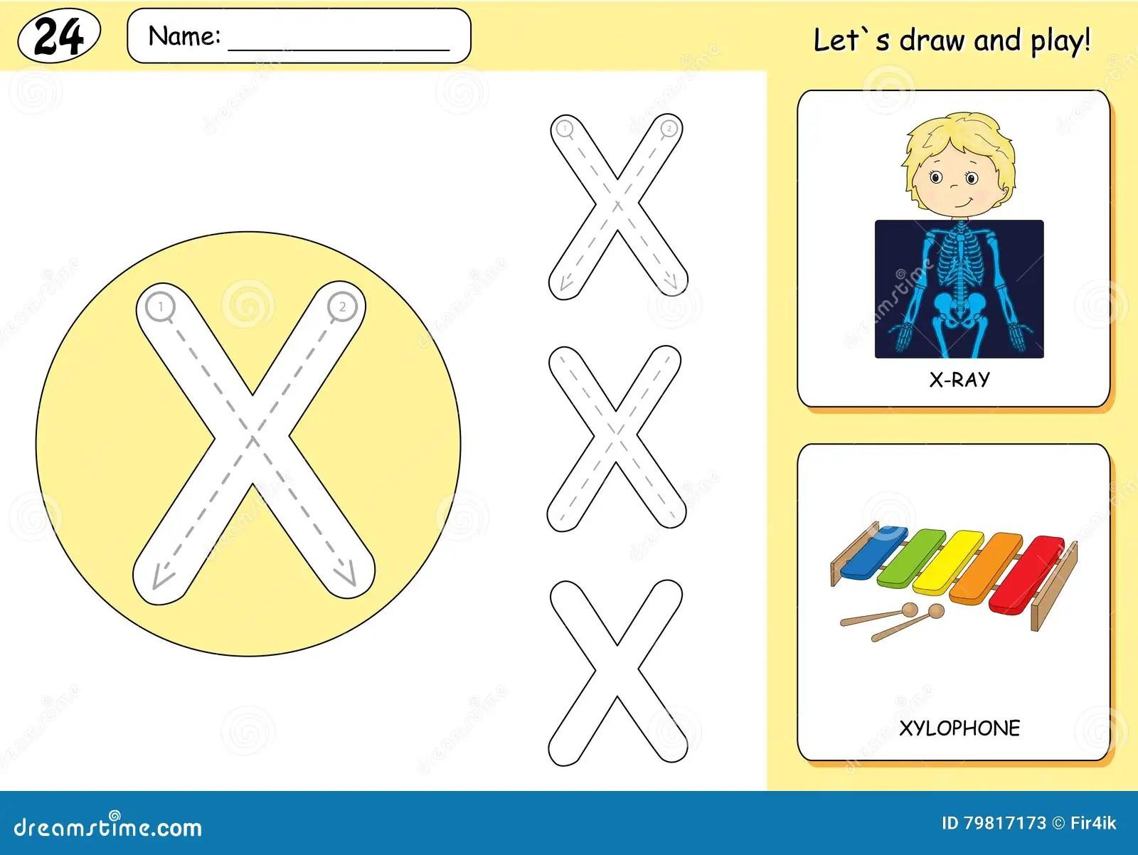 Cartoon X Ray Boy And Xylophone Alphabet Tracing Worksheet Cartoon Vector