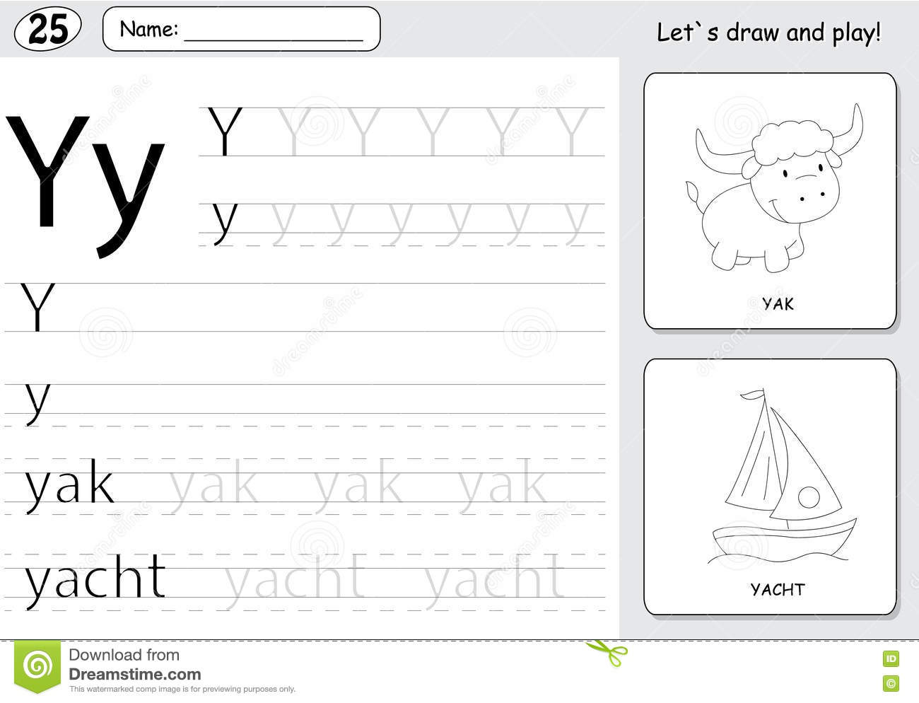 Cartoon Yak And Yacht Alphabet Tracing Worksheet Writing