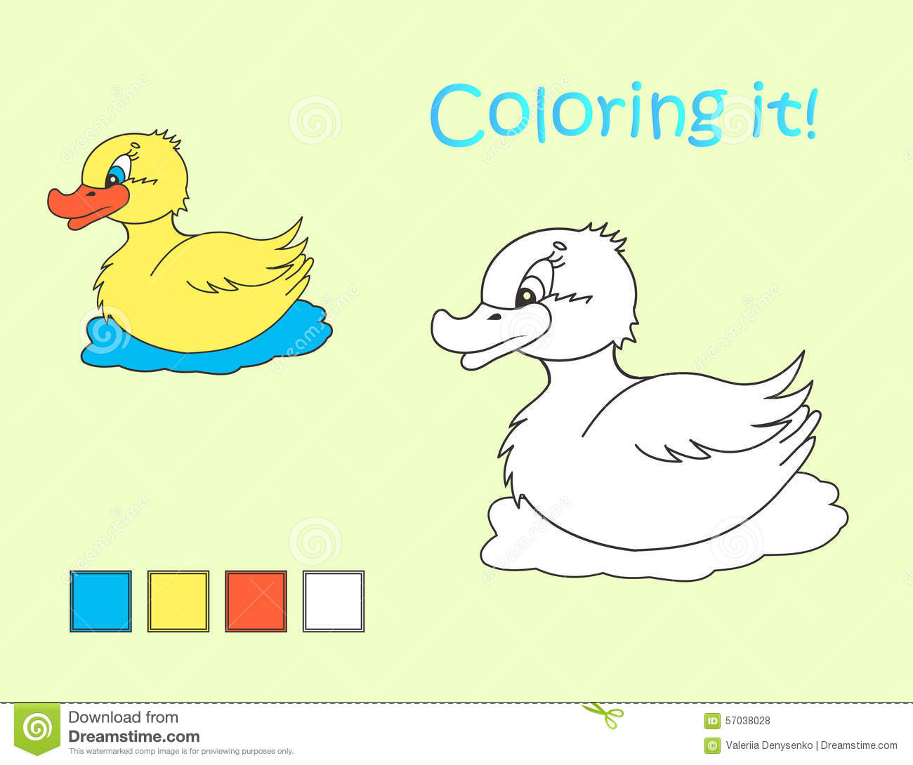 Cartoon Yellow Duck Coloring Picture Stock Vector