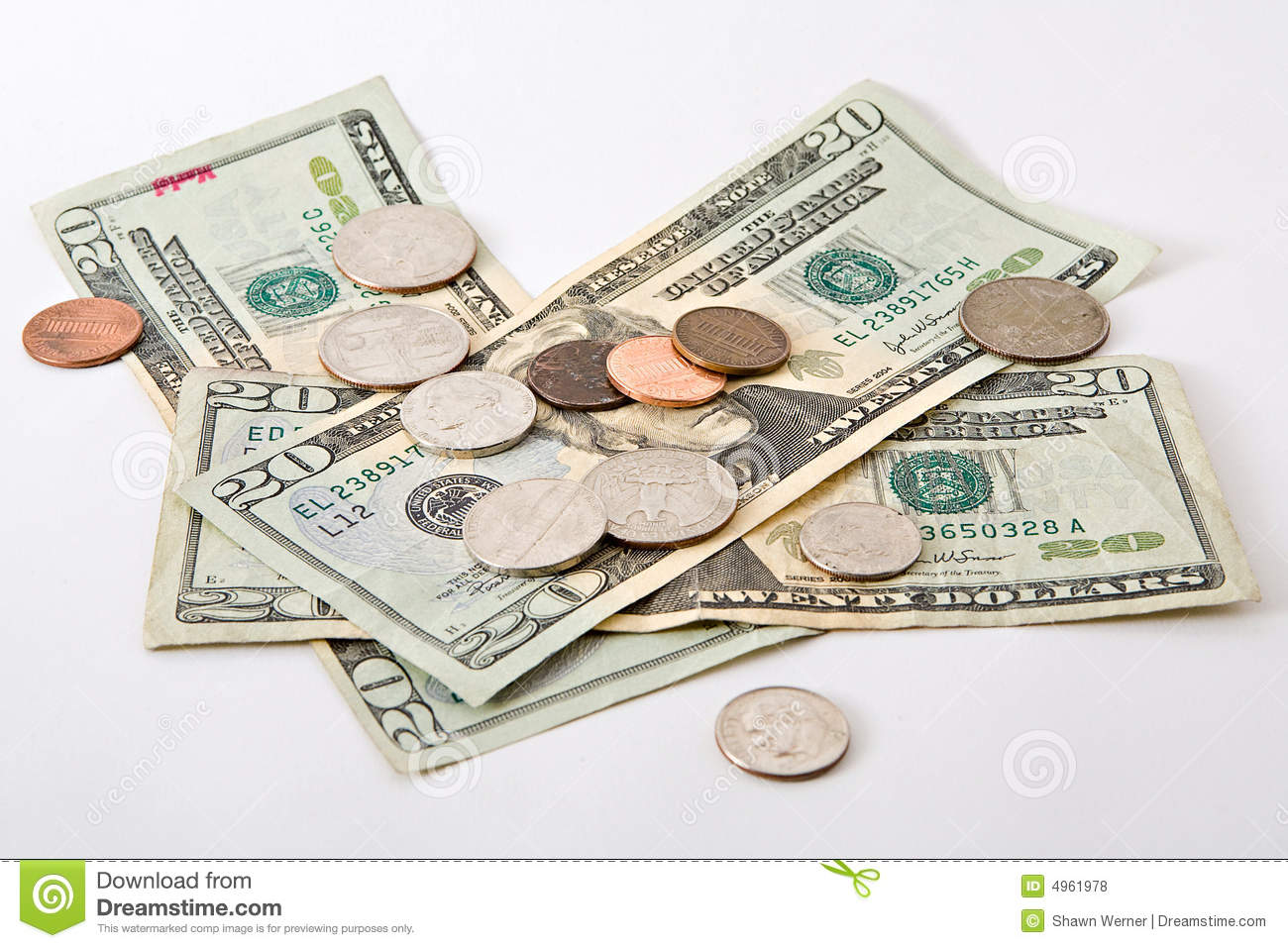 Cash And Coins Stock Photo Image Of Pennies Bill
