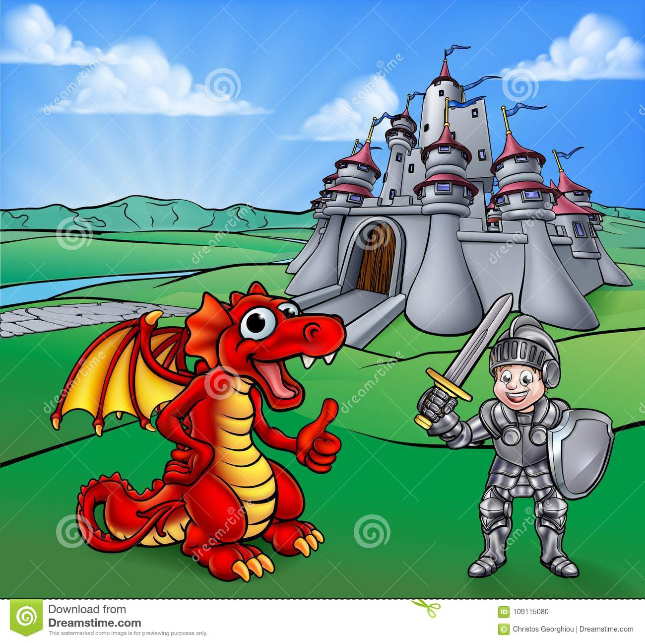 Castle Dragon And Knight Cartoon Stock Vector