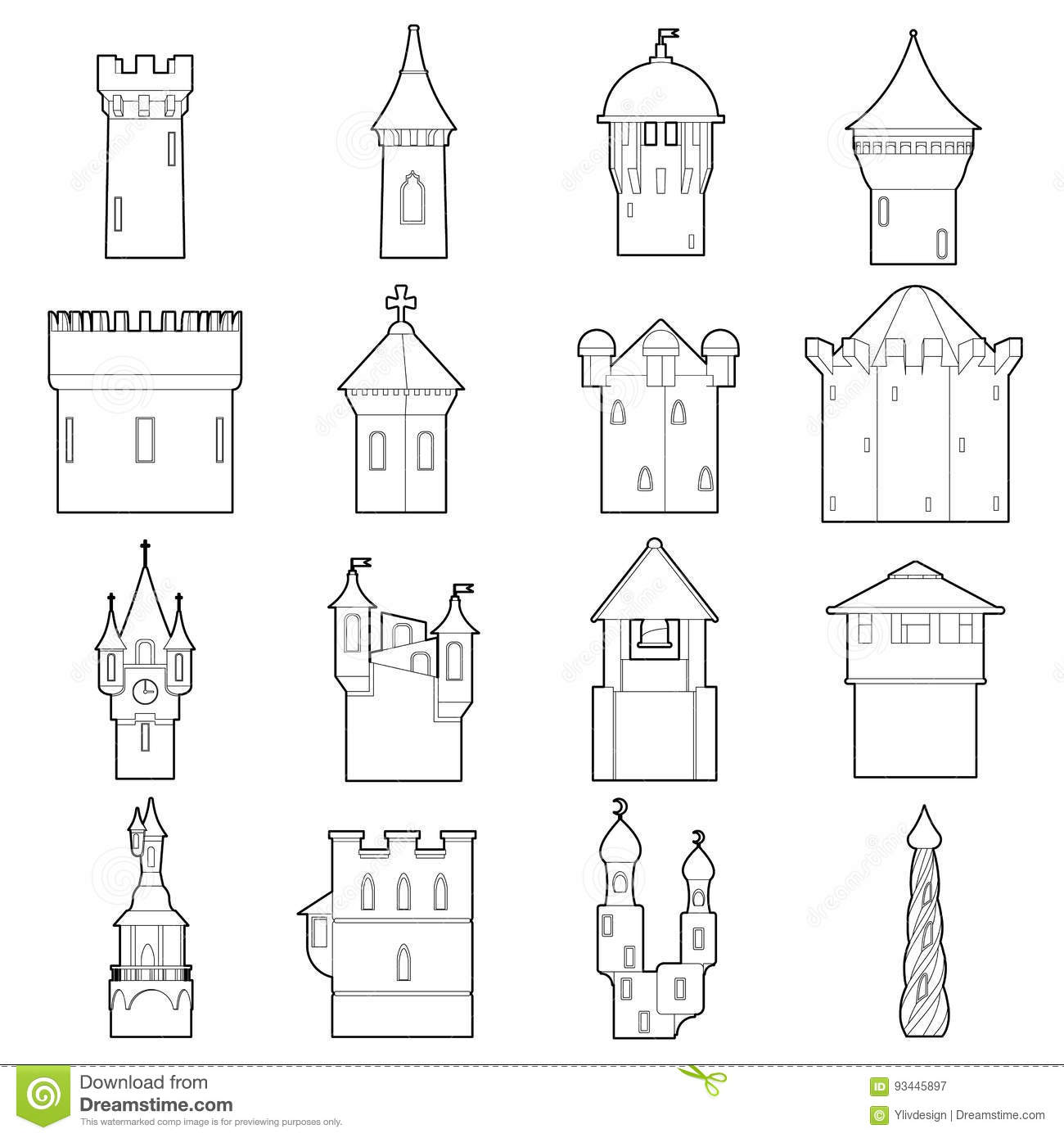 Castle Tower Icons Set Color Outline Style Stock Vector