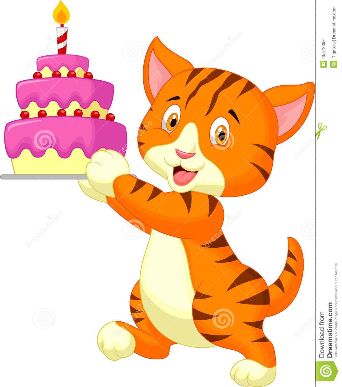 Cat Cartoon With Birthday Cake Stock Vector Illustration
