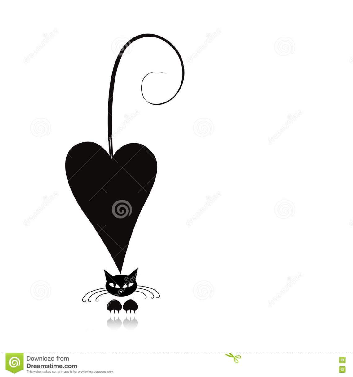 Download Cat In Love, Black Silhouette For Your Design Stock Vector ...