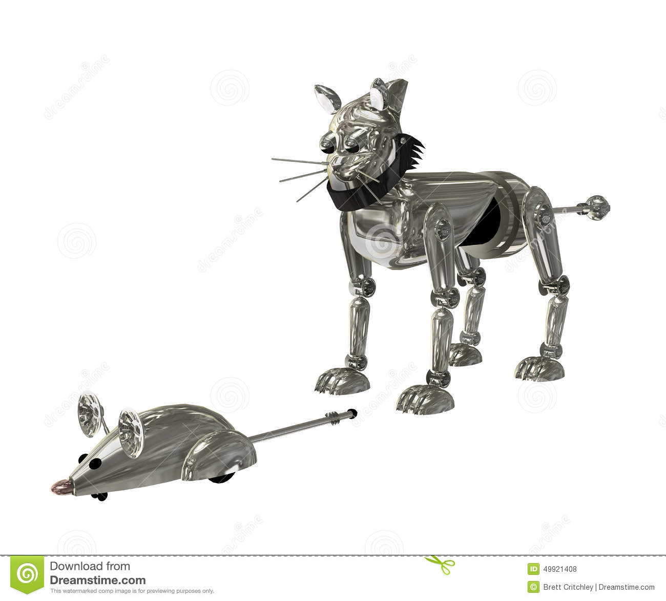 Cat And Mouse Robot Stock Illustration