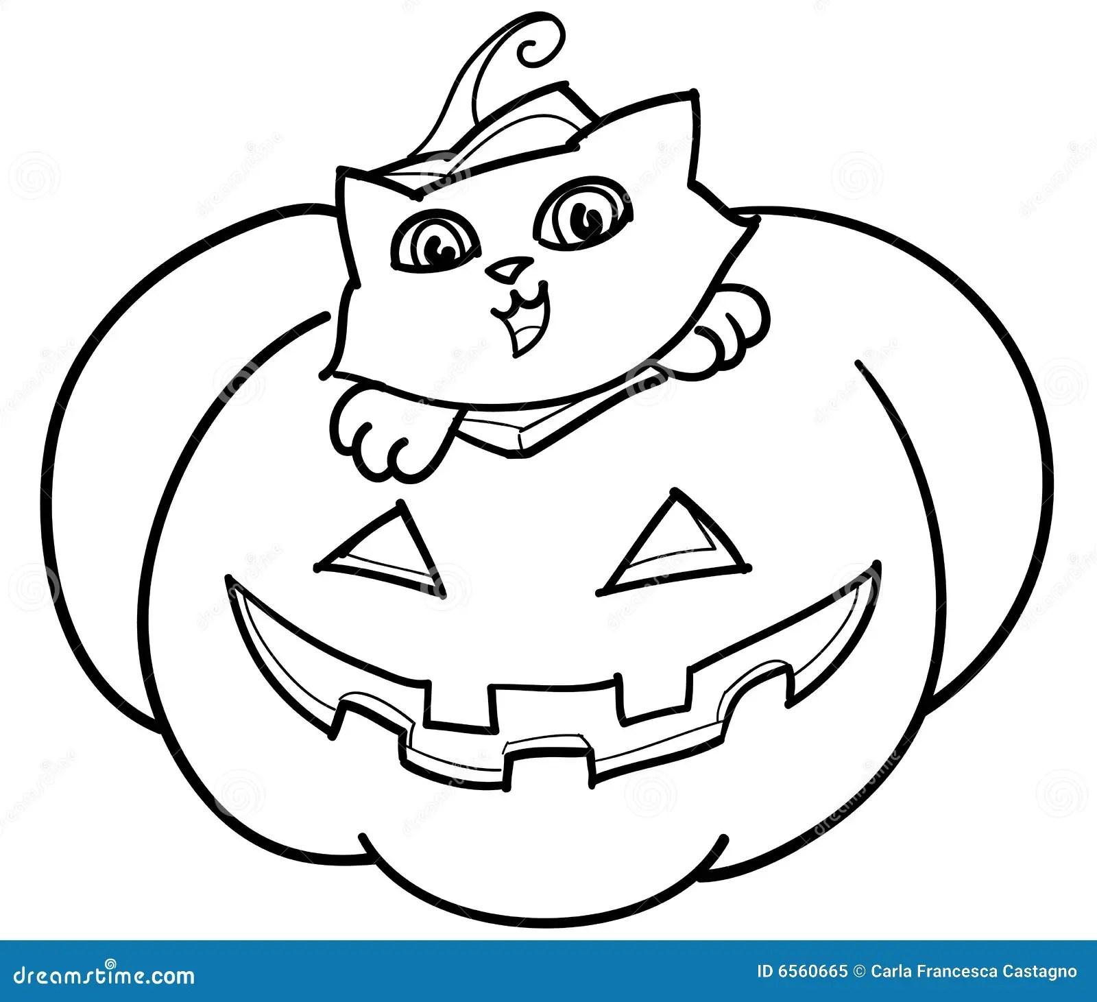 Cat In Jack O Lantern Vector Royalty Free Stock Photo