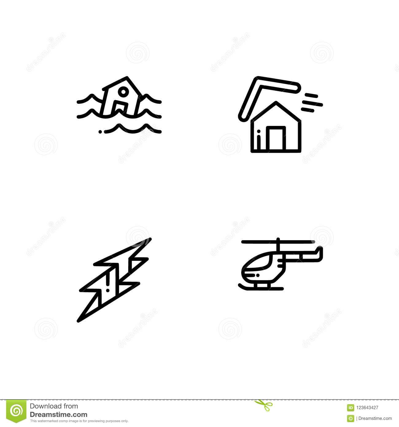 Helicopter Set Icons Vector Illustration
