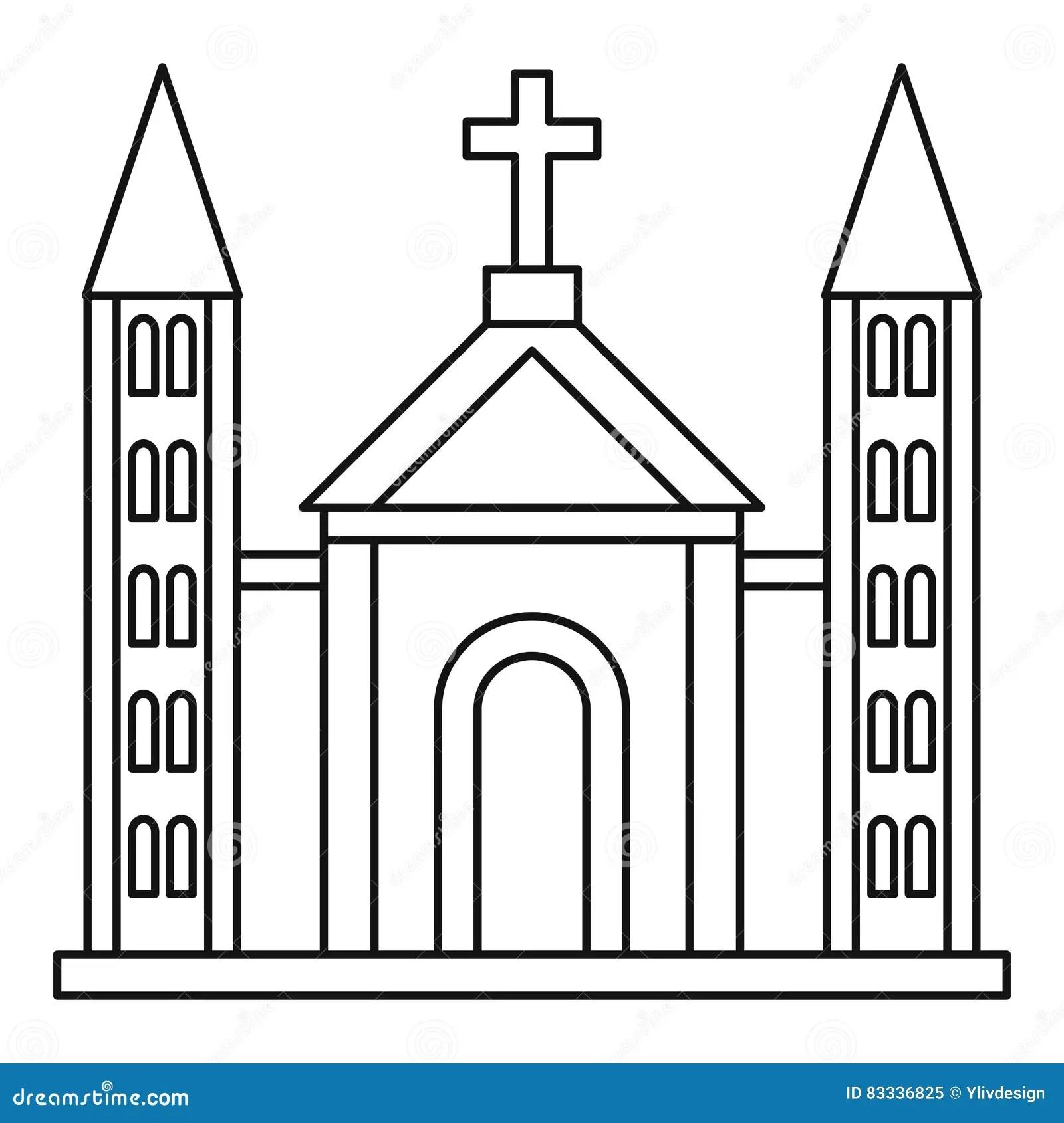 Exterior Church Building Icon Cartoon Vector
