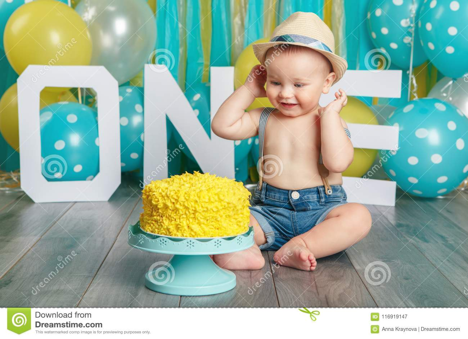 Caucasian Baby Boy Celebrating His First Birthday Cake Smash Stock Image Image Of Infant Laughing 116919147