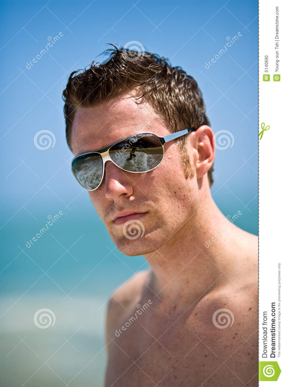 Caucasian Hunk At The Beach Stock Photo Image 5140690