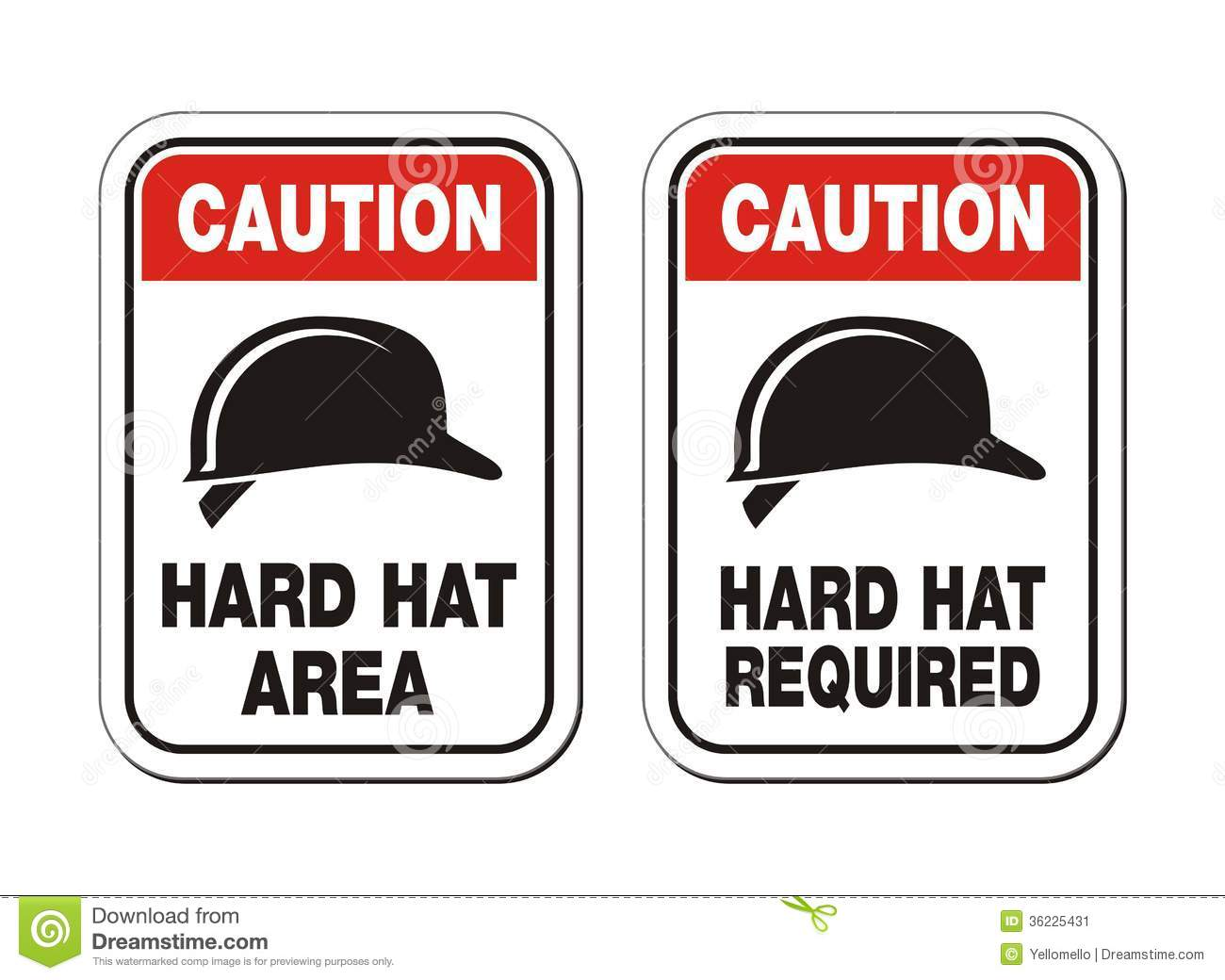 Caution Hard Hat Required Signs