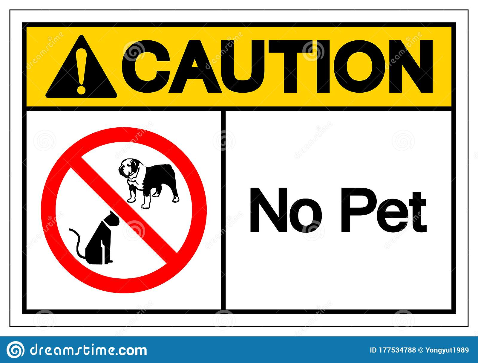 Caution No Pet Symbol Sign Vector Illustration Isolate