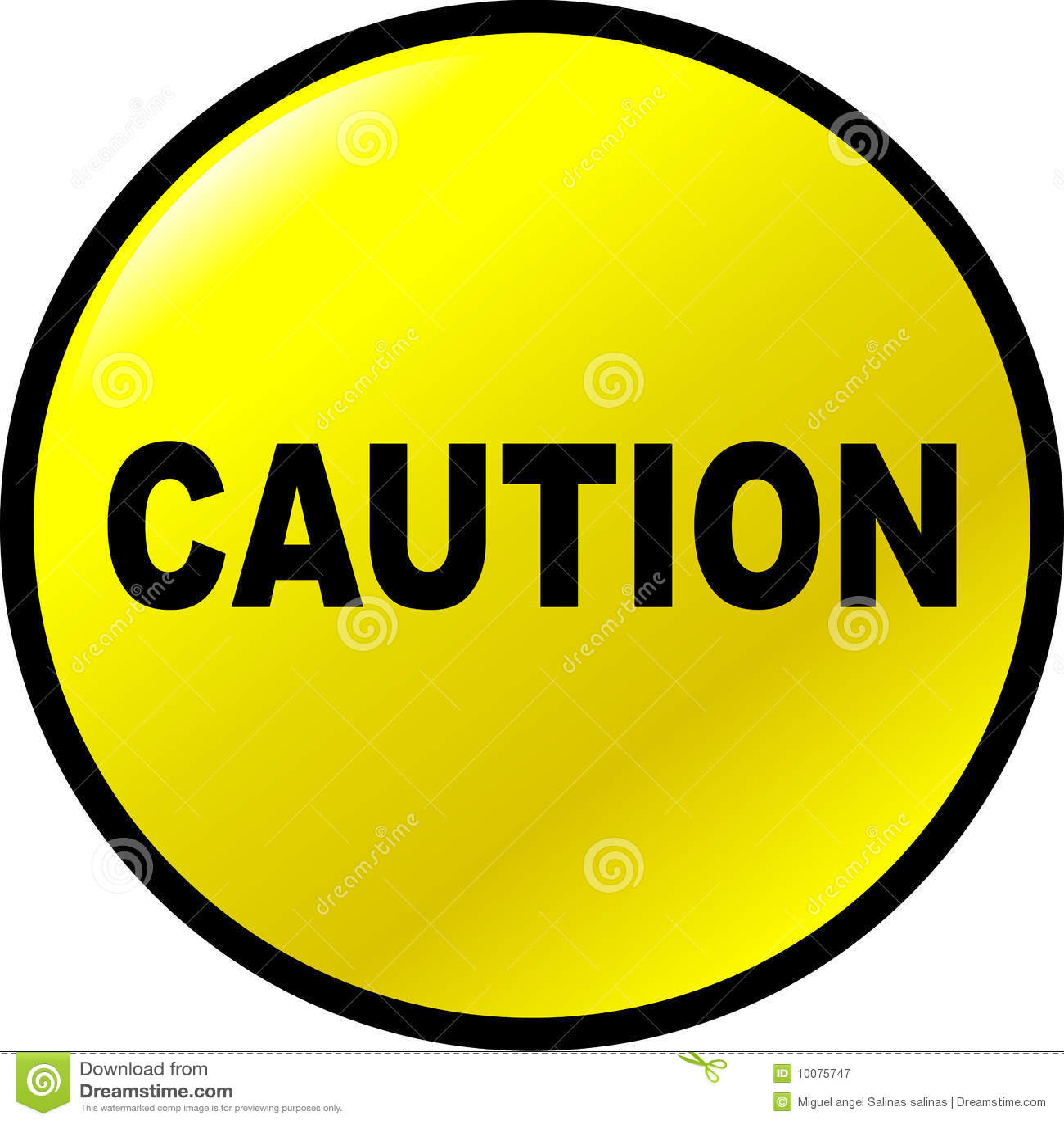 Caution Vector Yellow Button Stock Vector