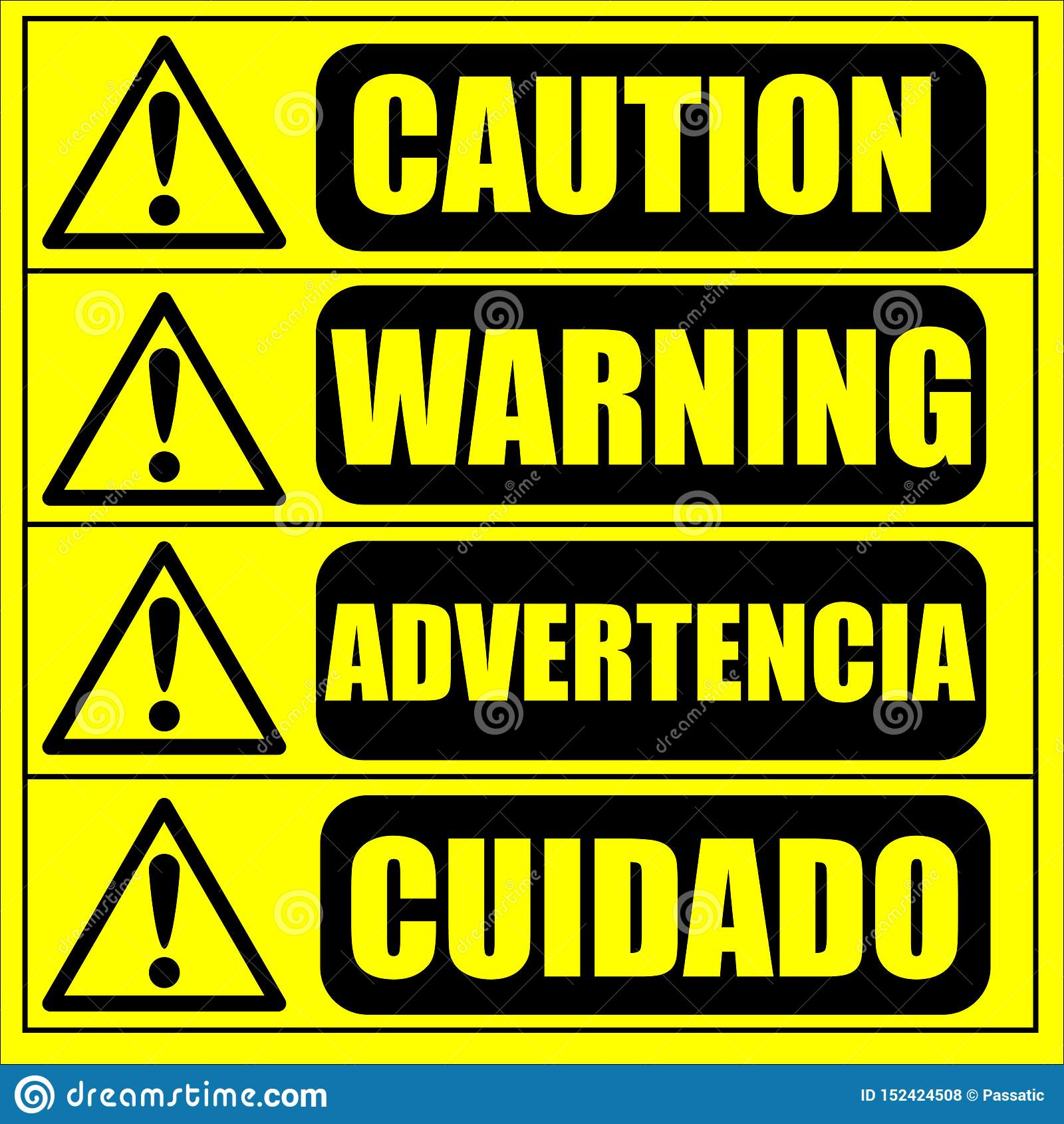 Caution Warning Sign On The Yellow Background Stock Vector