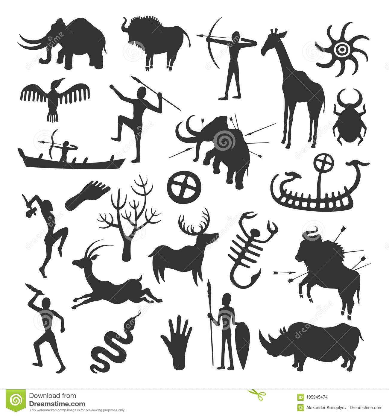 Tribal Cave Painting Vector Illustration