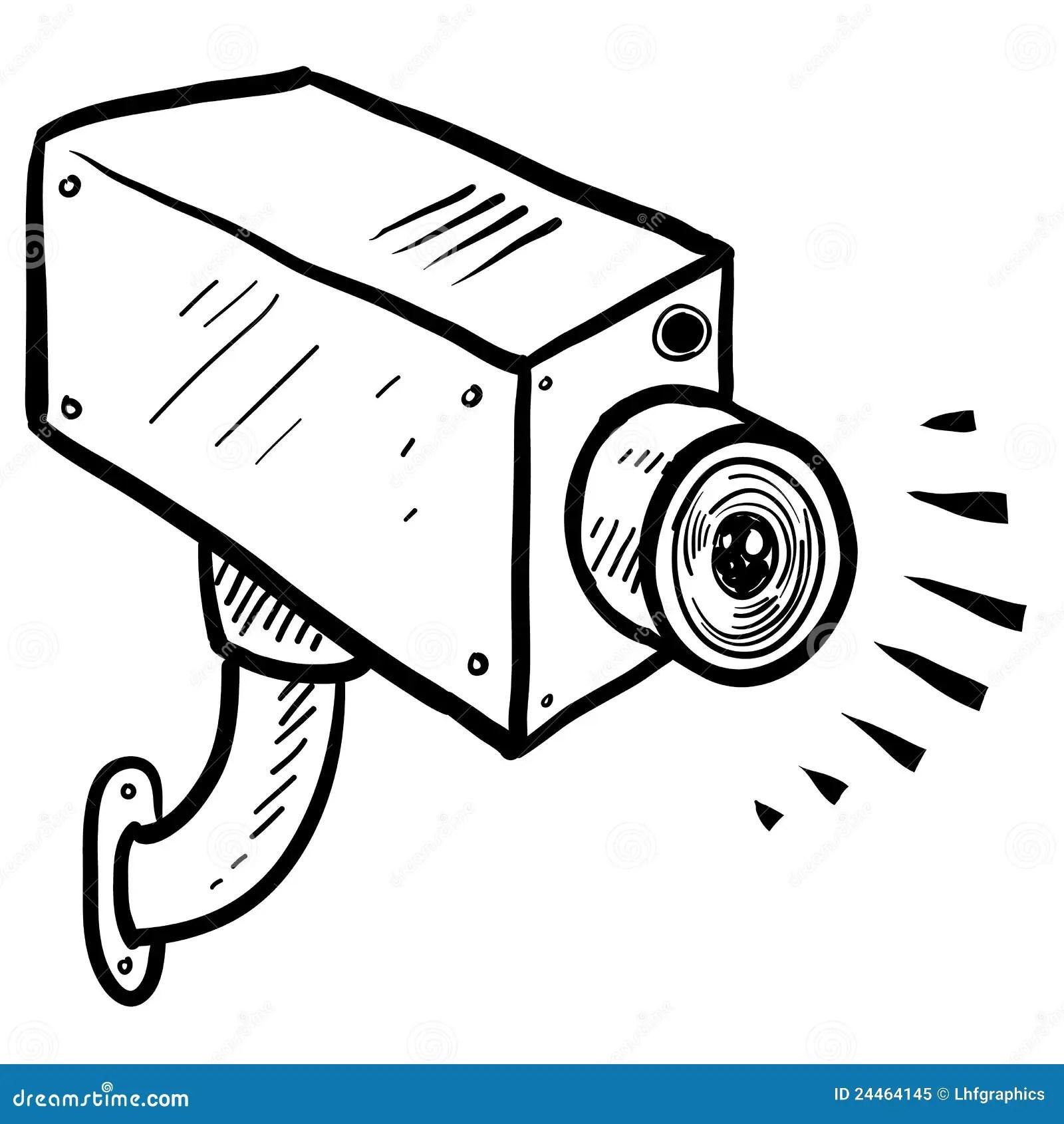 Cctv Security Camera Sketch Stock Vector