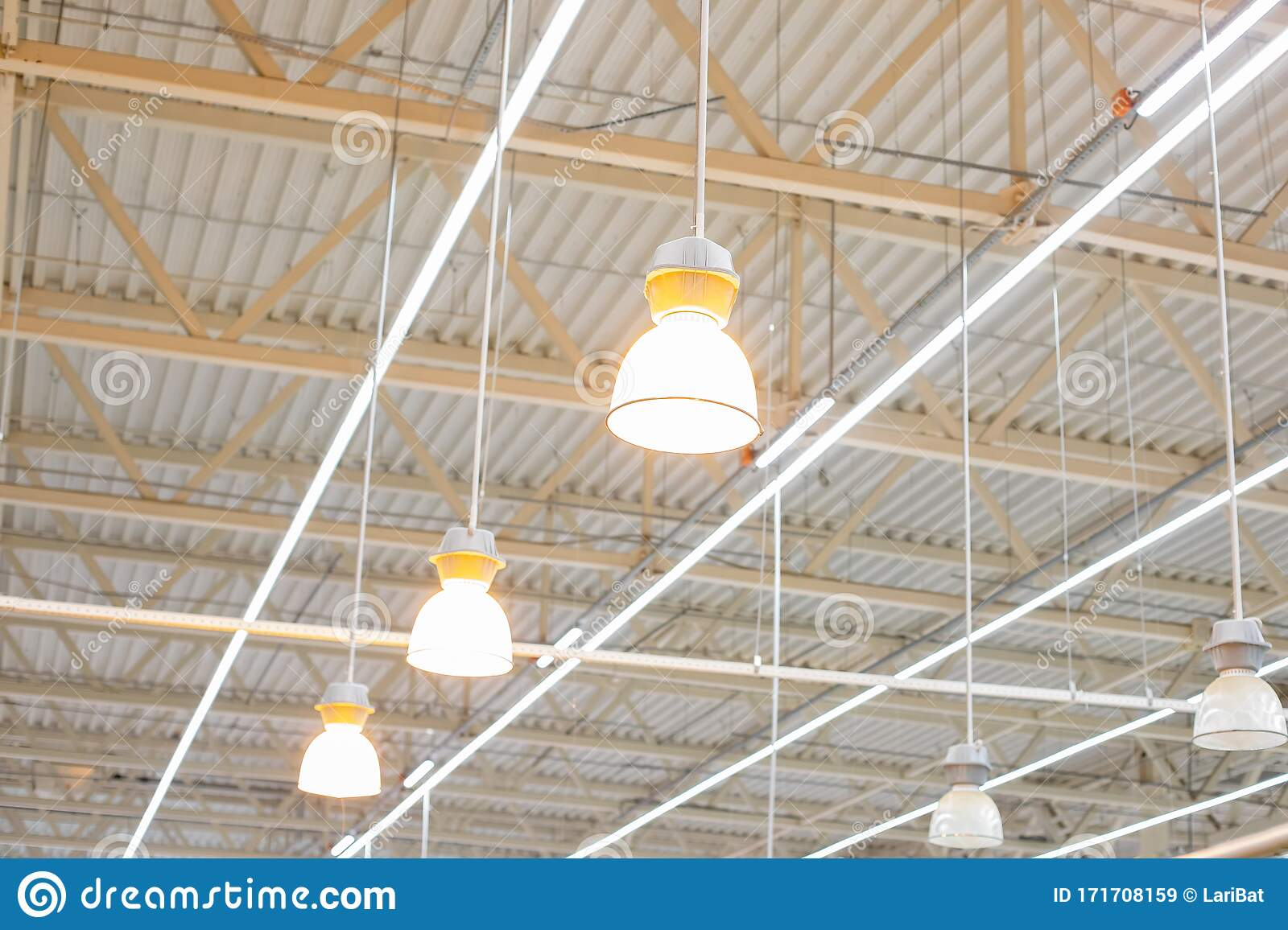 https www dreamstime com ceiling bright lamps modern warehouse image bright light large space trade storage commercial activity large image171708159