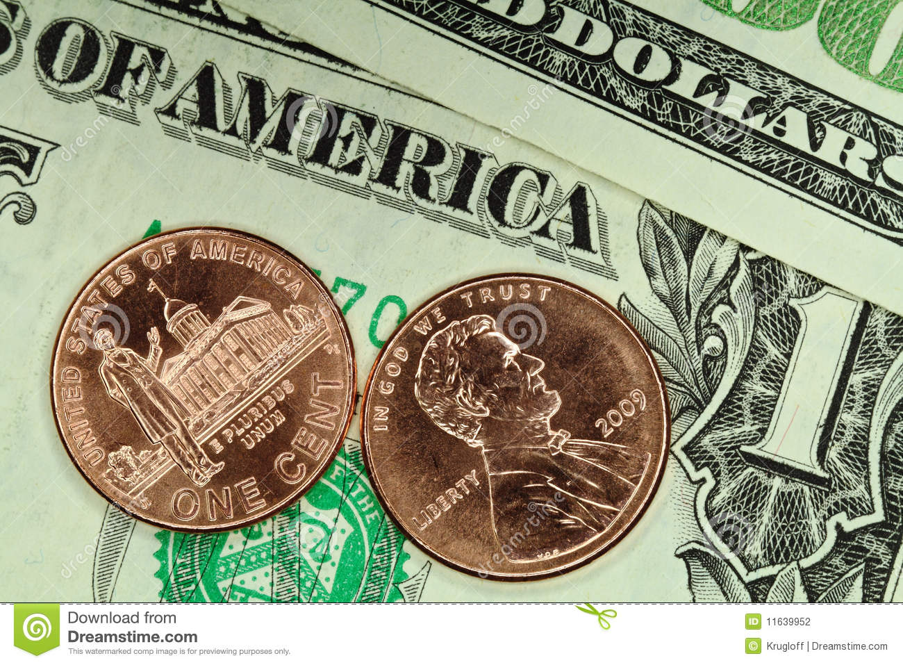 Cents And Dollars Stock Photography