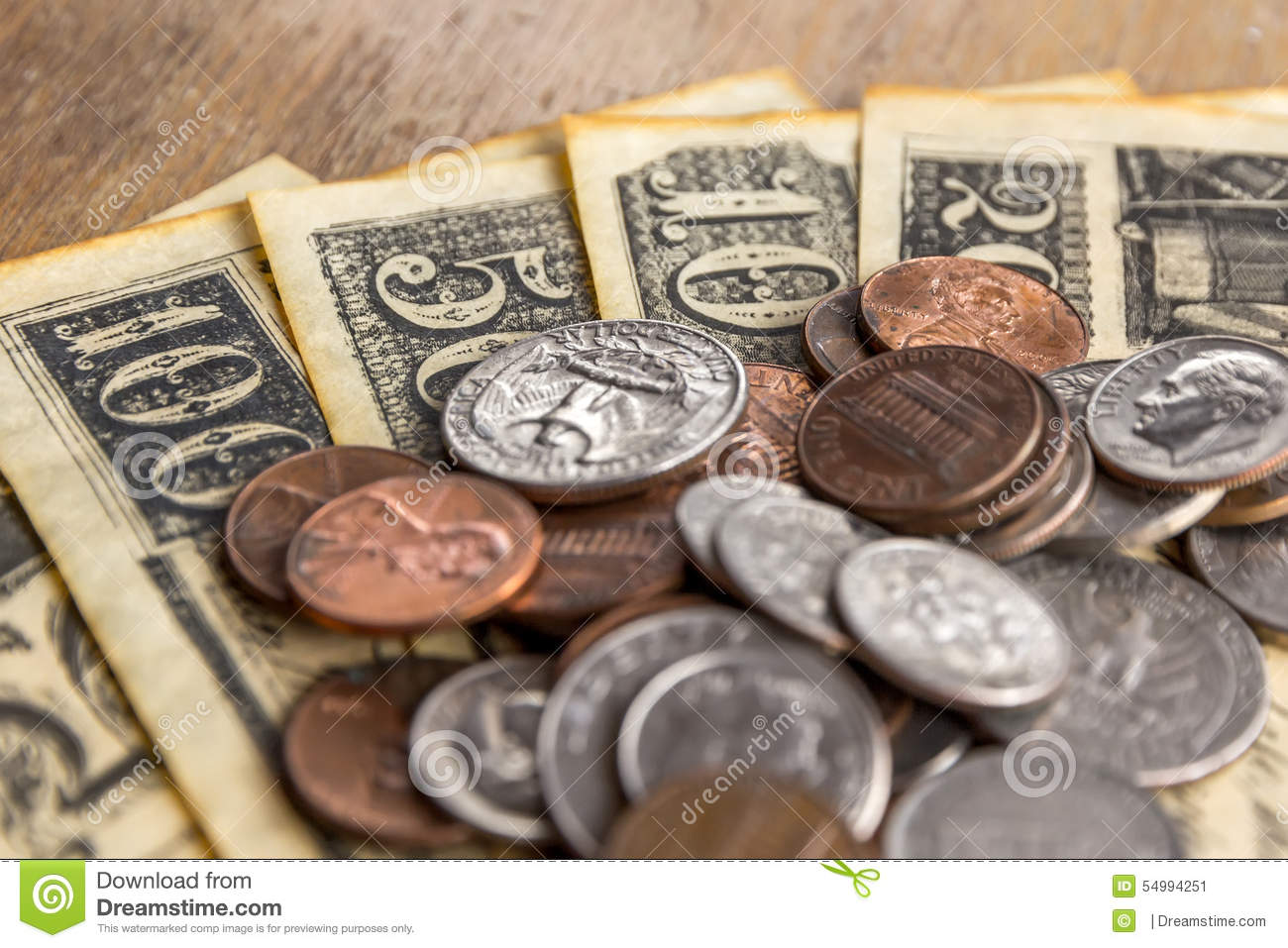 Cents And Old Bills Stock Image Image Of Debts Dimes