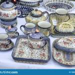 Ceramic Dishes Displayed Breakfast Sets Stock Image Image Of Plate Trays 128825645