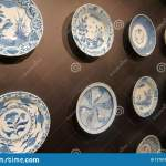 Ceramic Wall Decorative Plates On The Dark Wall Stock Image Image Of Background Vintage 127519227