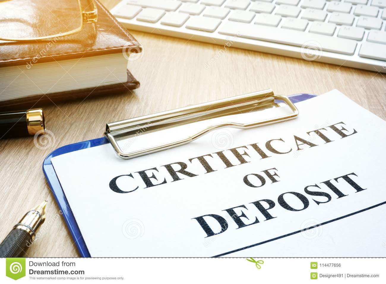 Certificate Of Deposit On A Desk Stock Photo Image Of