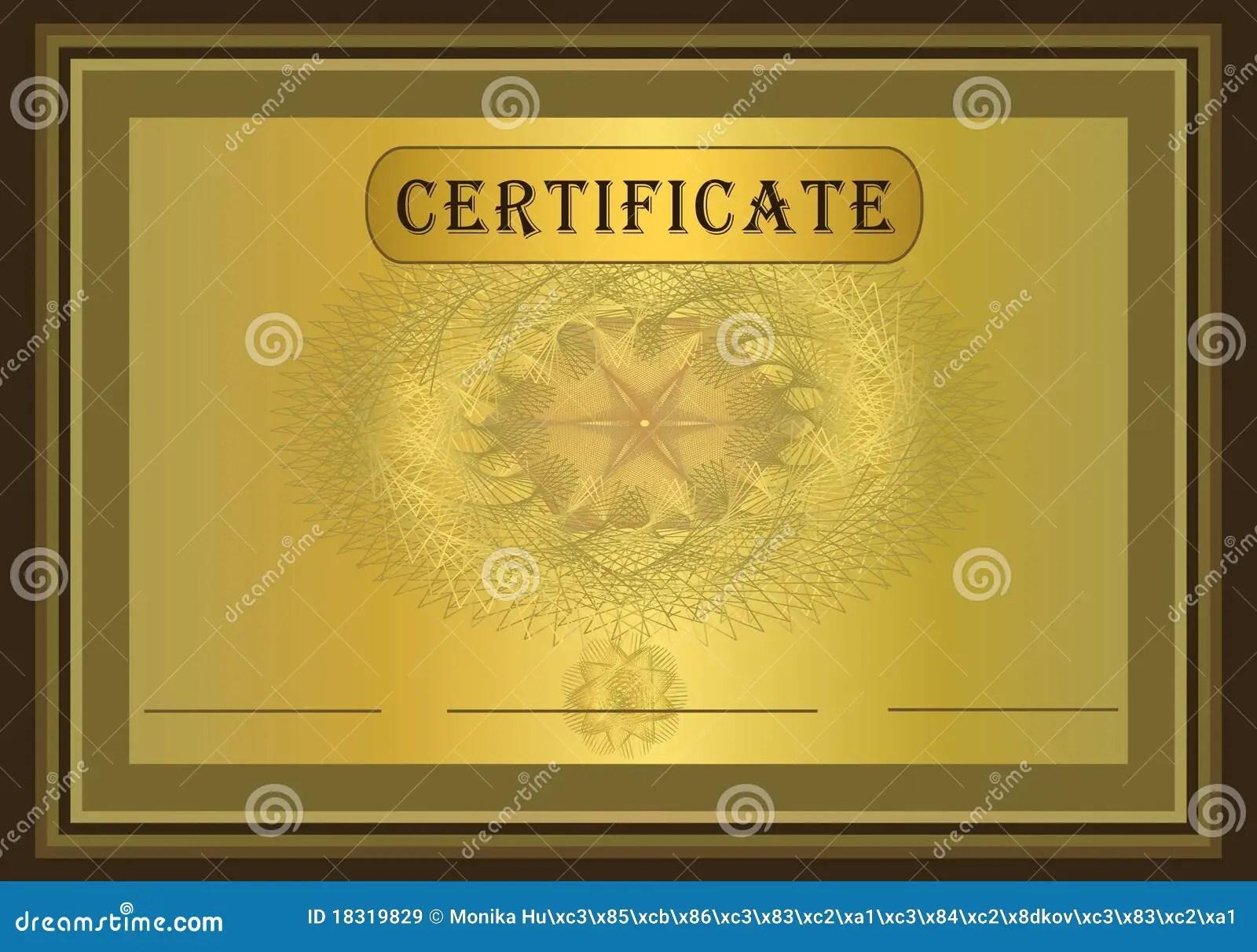 Certificate Gold Brown Stock Vector Illustration Of Design 18319829