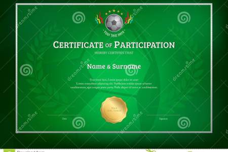 Certificate Template In Football Sport Theme With Green Backgrou     Certificate template in football sport theme with green background border  frame  Diploma design