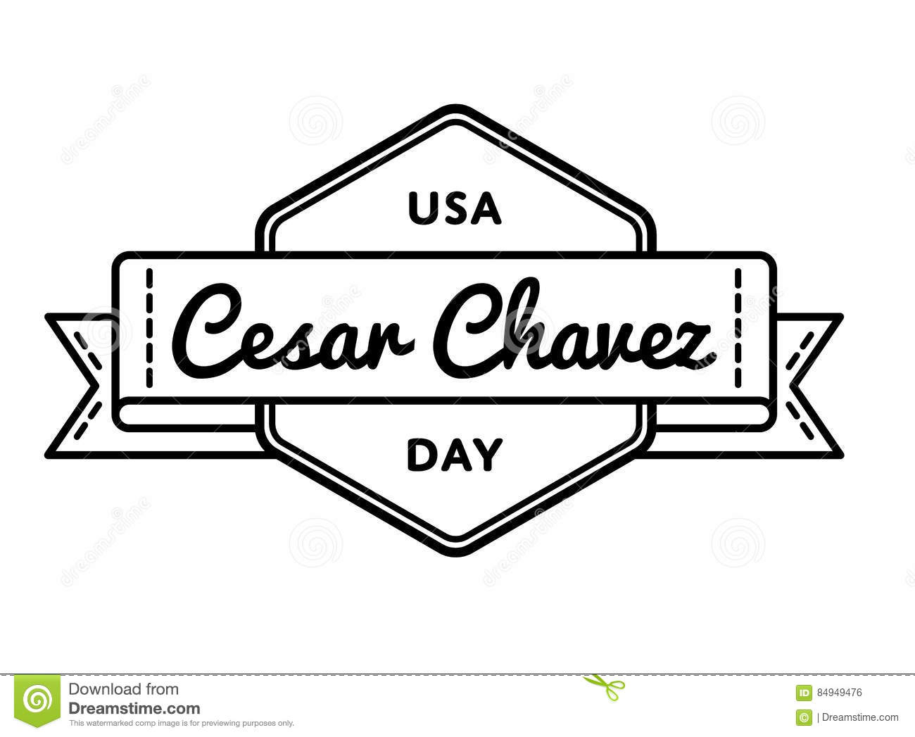 Cesar Chavez Day Greeting Emblem Stock Vector