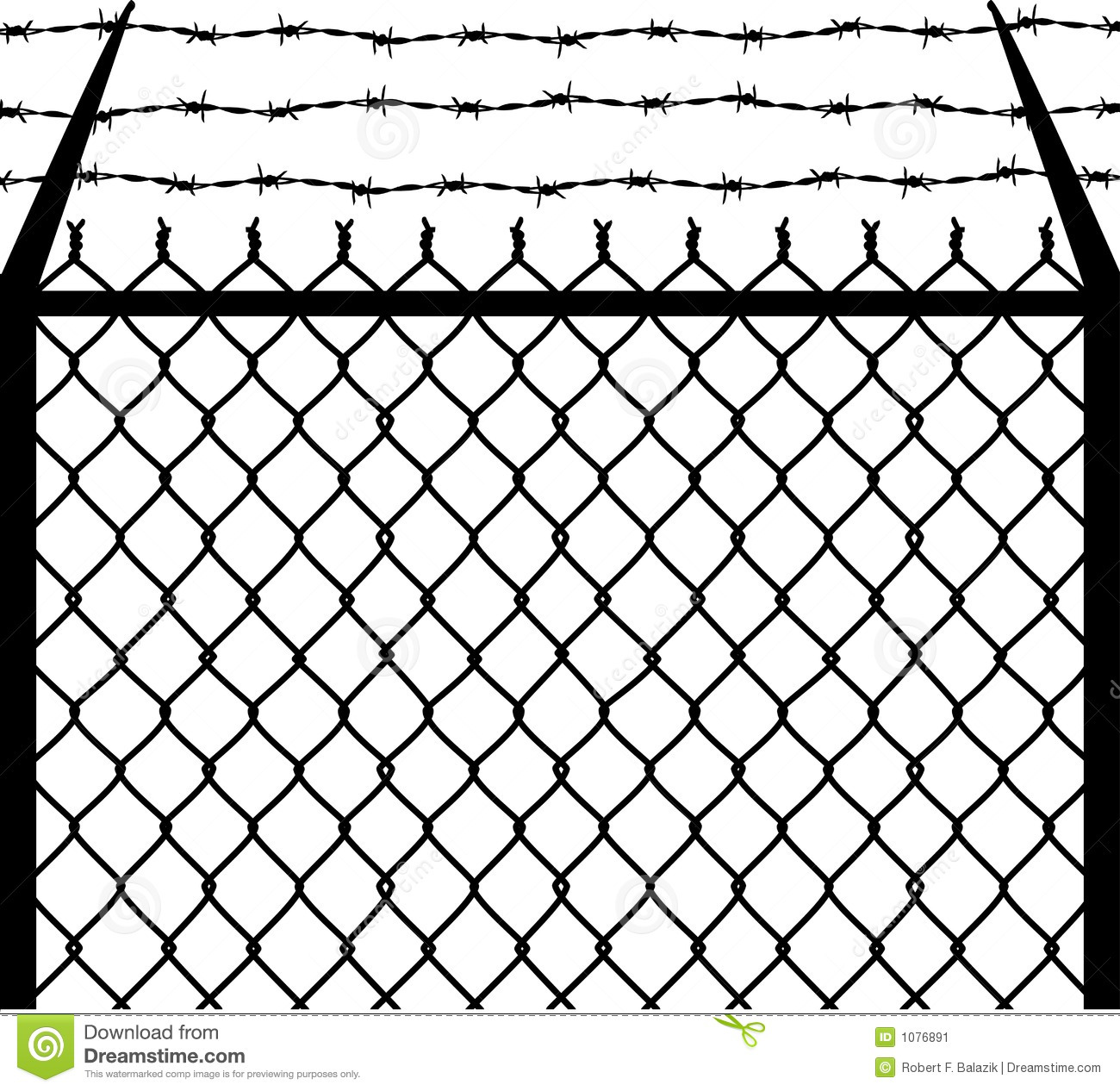Chain Barbed Stock Vector Illustration Of Fence System