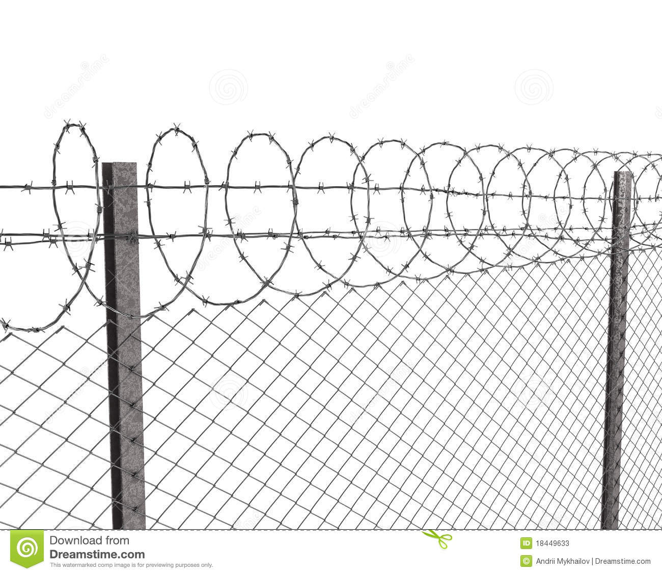 Chainlink Fence With Barbed Wire On Top Stock Illustration