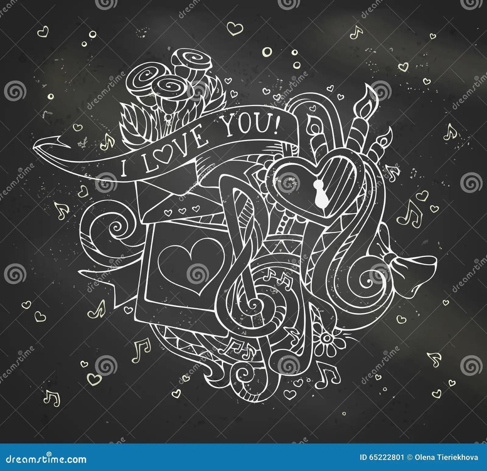 Chalk I Love You Doodles Illustration On Blackboard