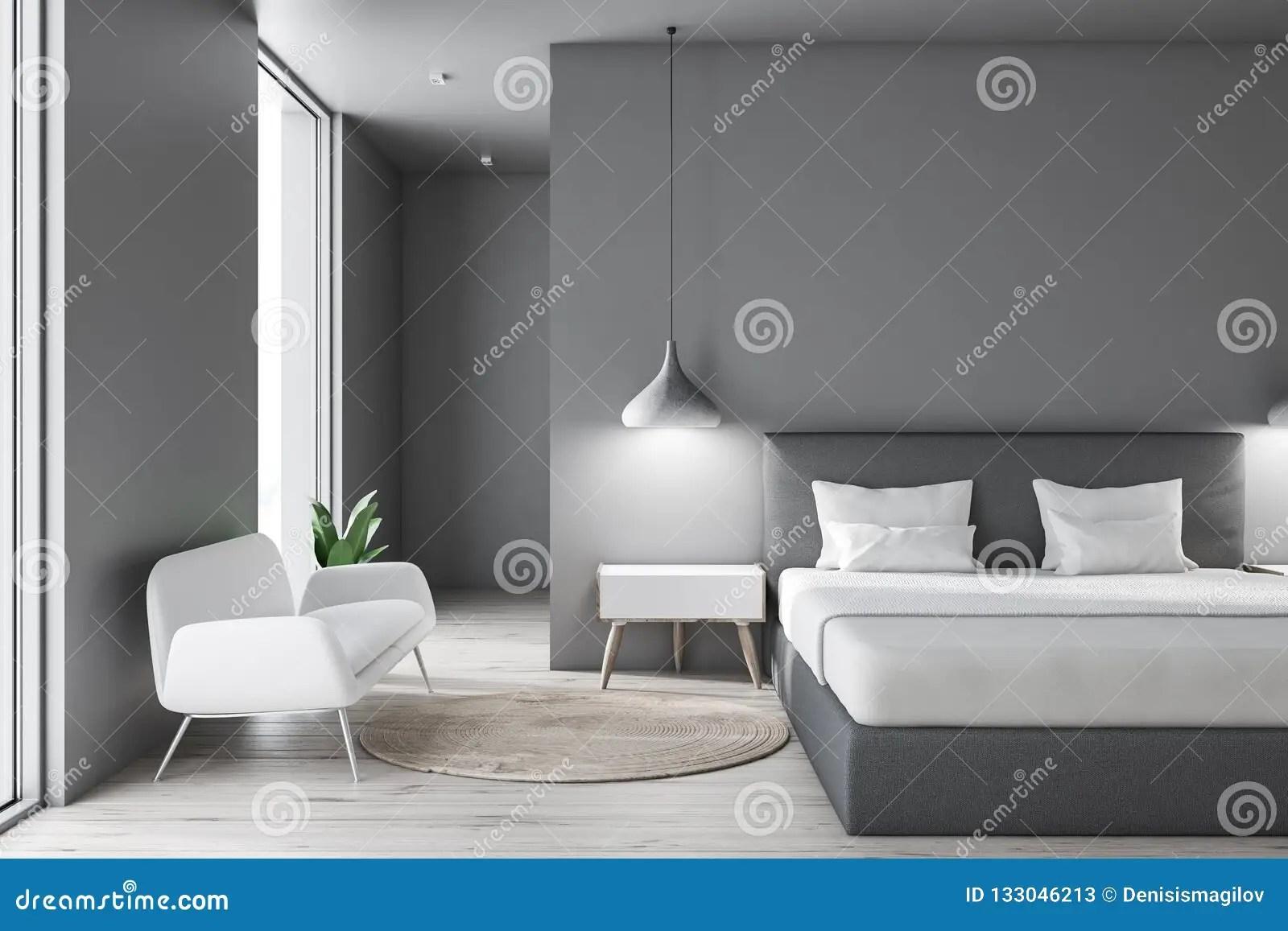 chambre a coucher grise avec le sofa