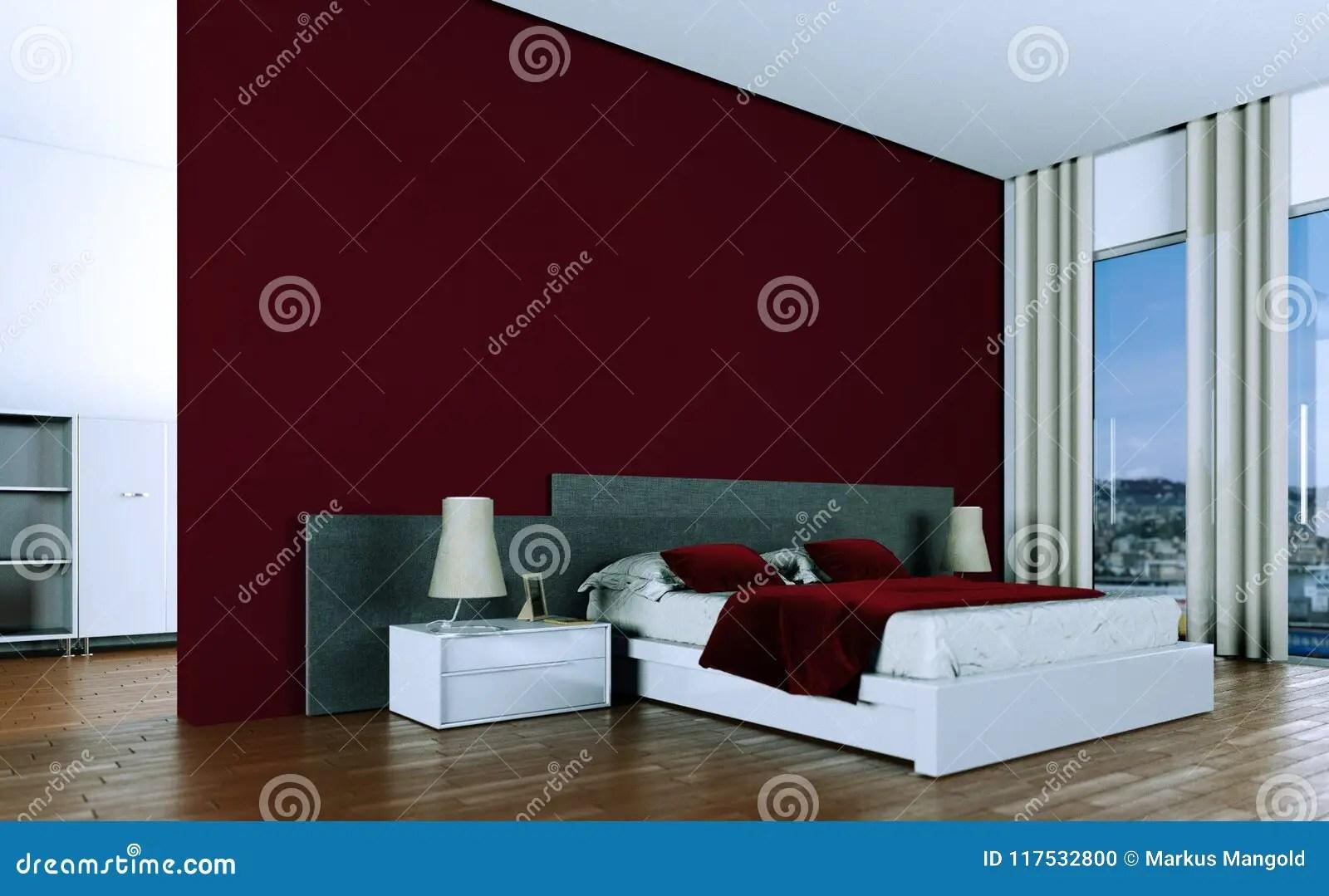 coucher moderne avec le mur rouge