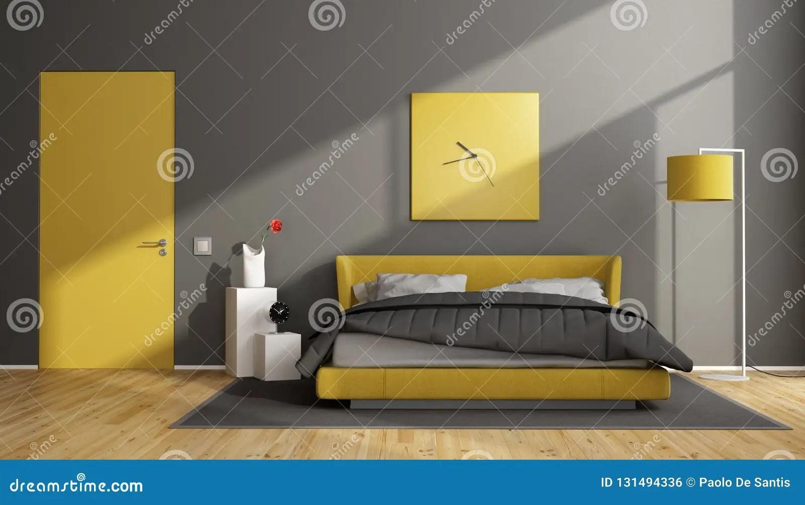 chambre a coucher moderne grise et