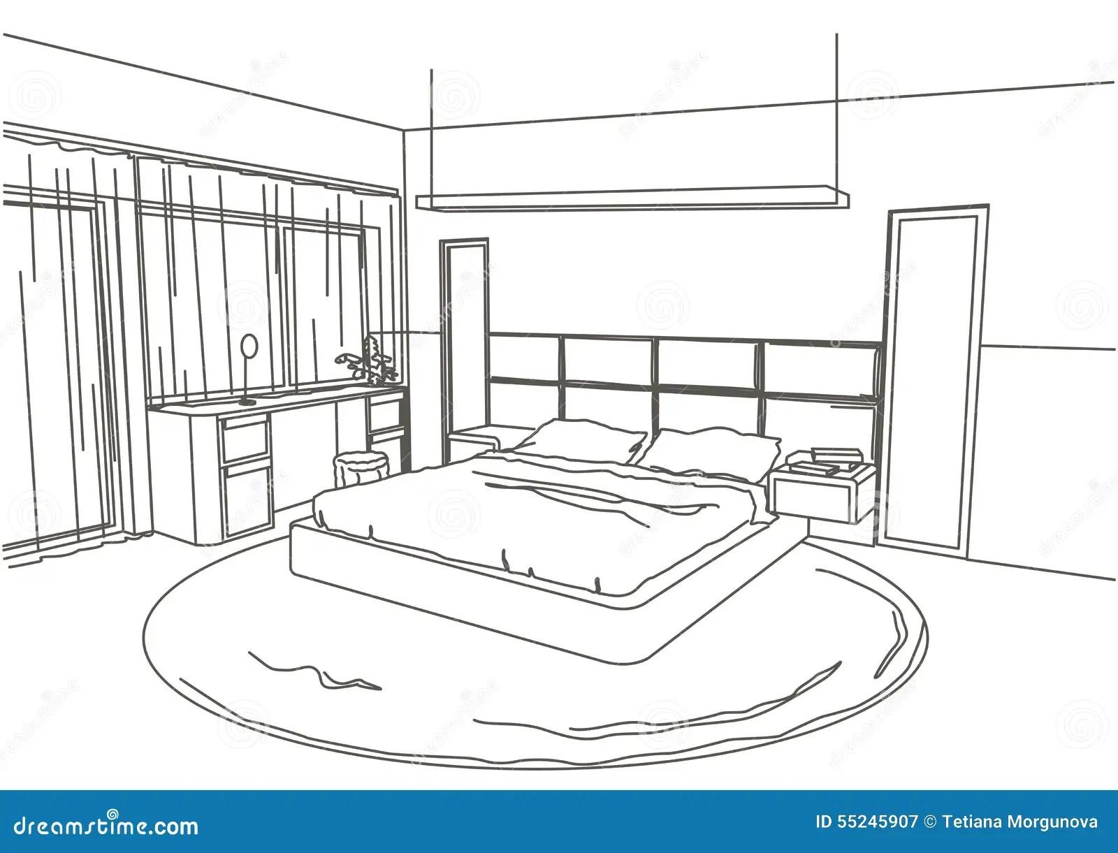 Chambre A Coucher Moderne Interieure De Croquis