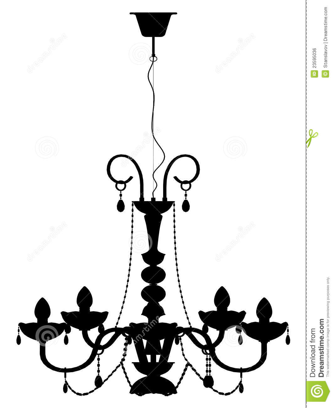 Chandelier Lamp Outline Silhouette Royalty Free Stock