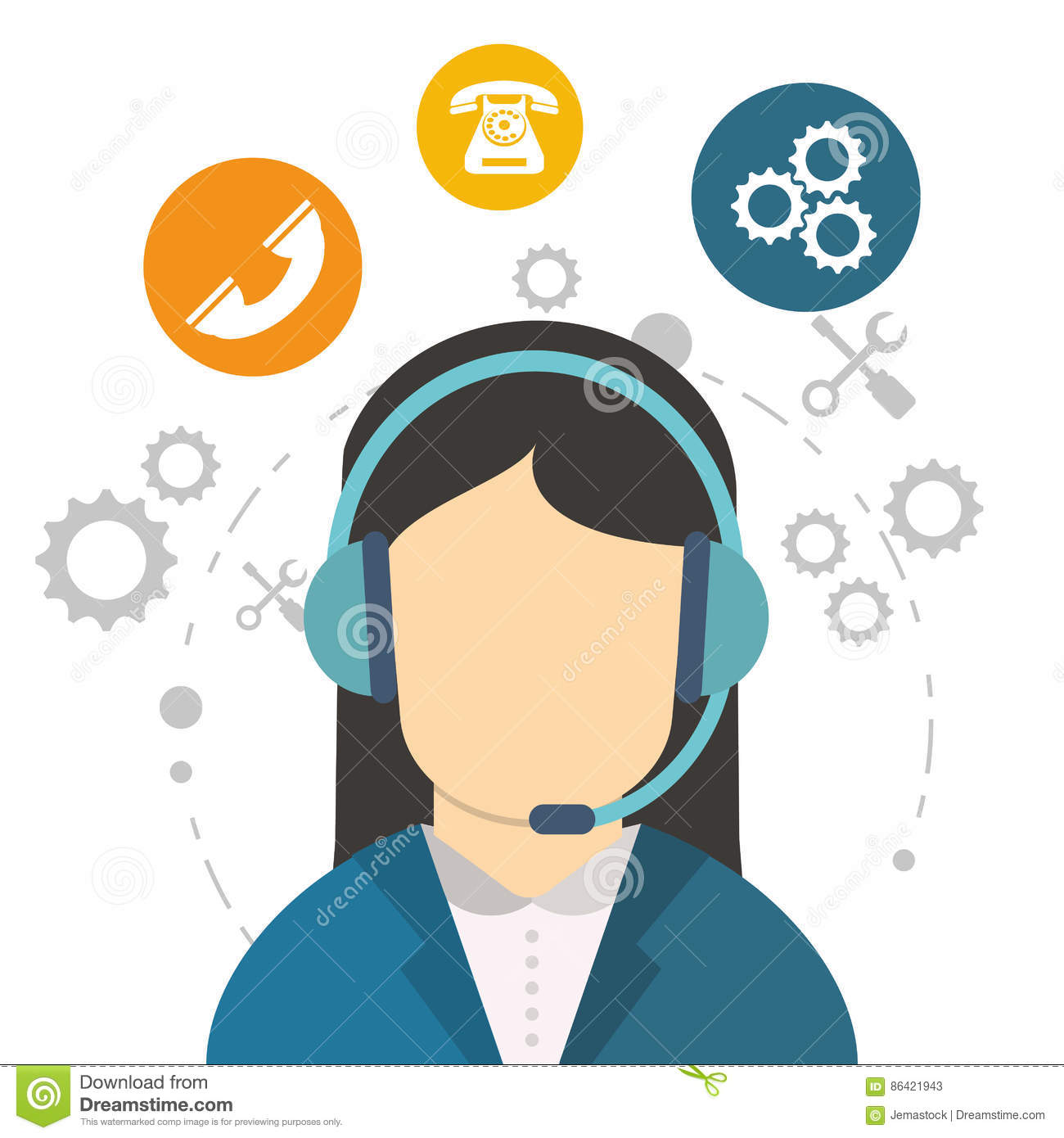 Character Call Center Communication Work Tool Stock Vector
