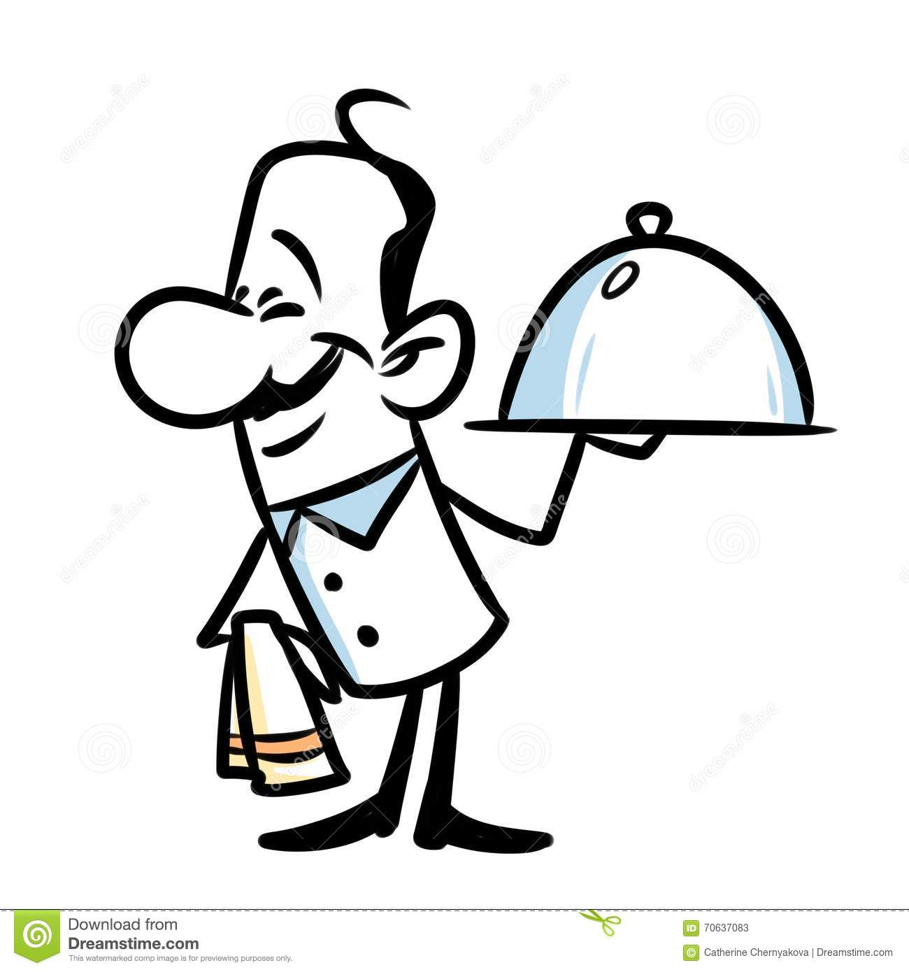 Character Waiter Cartoon Stock Illustration