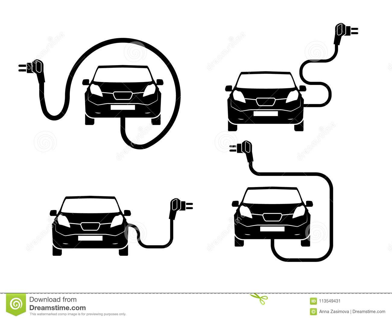 Charging Station Electric Car Black Icons Set Electric