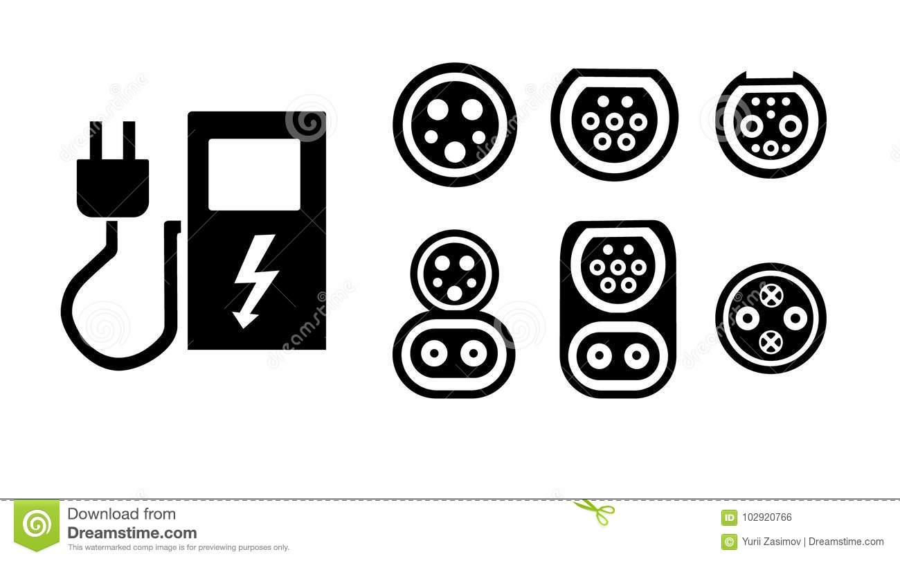 Charging Station Of A Modern Electric Vehicle Logo On The