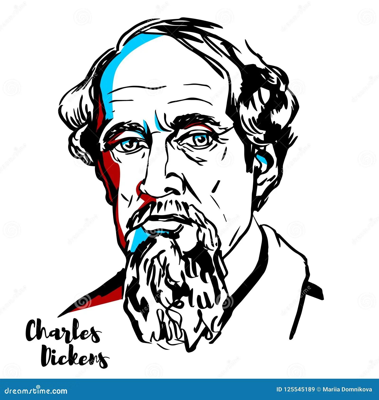 Charles Dickens Portret Vector Illustratie Illustratie