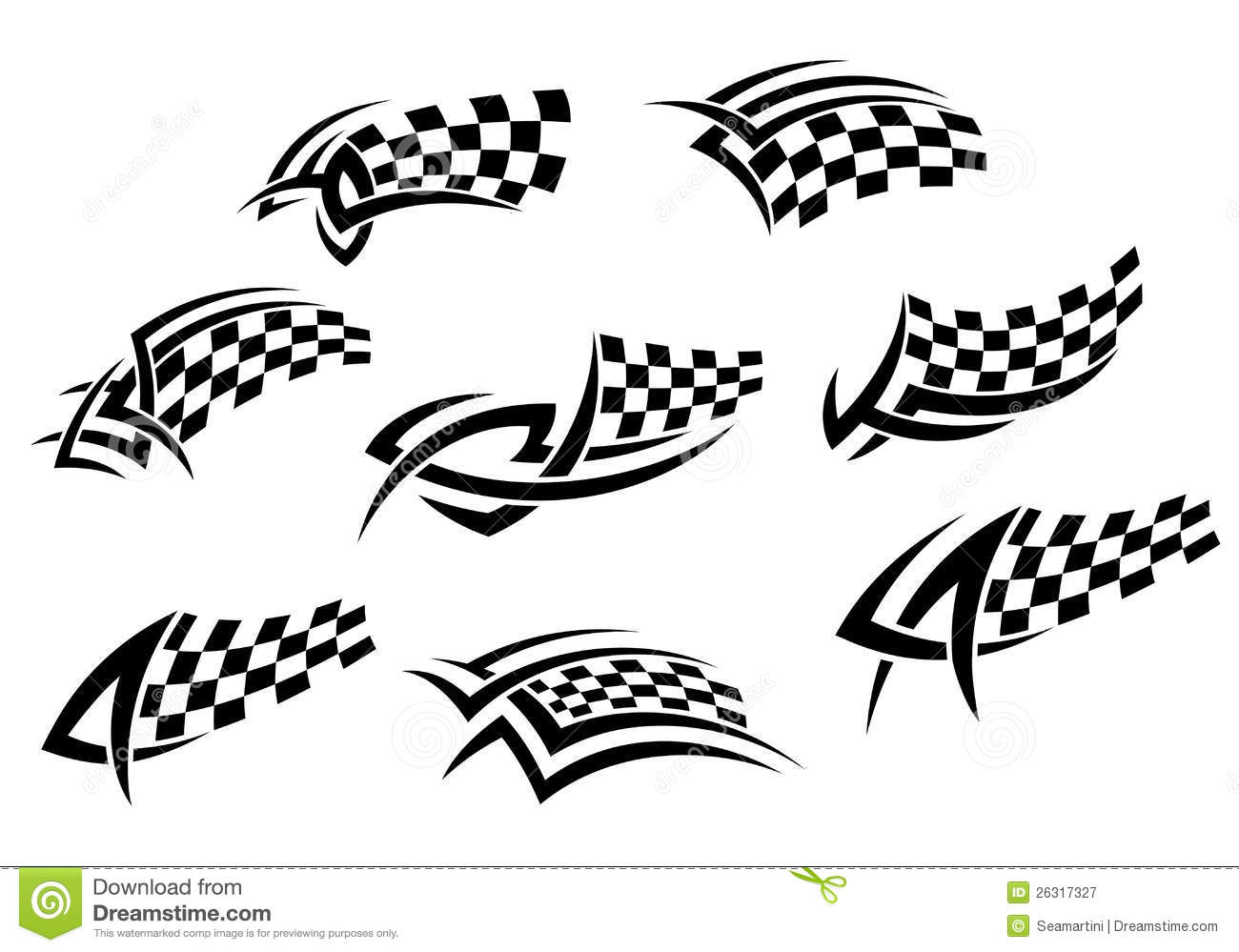 Checkered Flags In Tribal Style Stock Vector