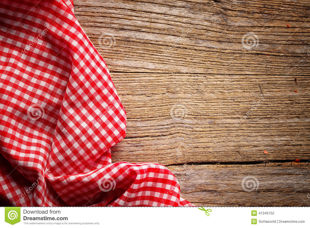 Checkered Tablecloth On Wood Stock Photo Image 41345152