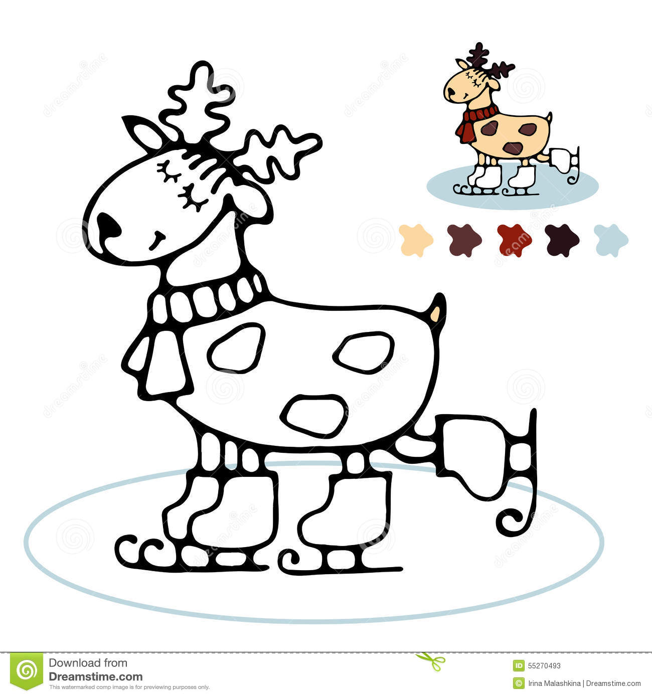 Cheerful Reindeer Skating Coloring For Kids Stock Vector