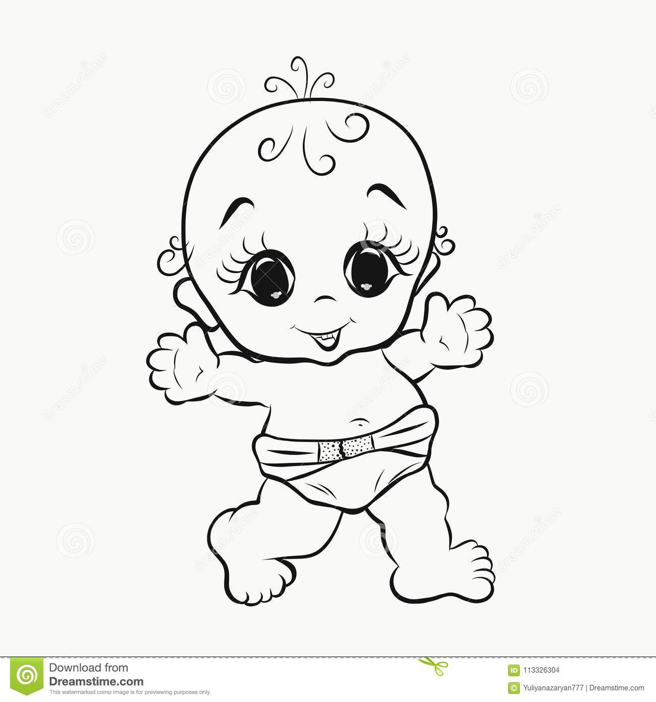 Cheerful Walking Baby With Big Eyes Coloring Stock