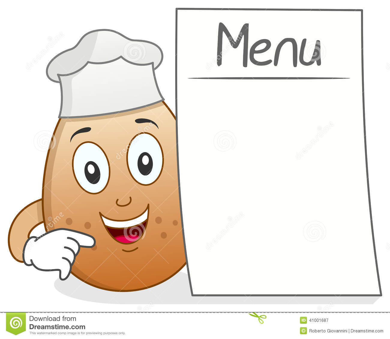 funny cartoon chef egg character a blank menu isolated on