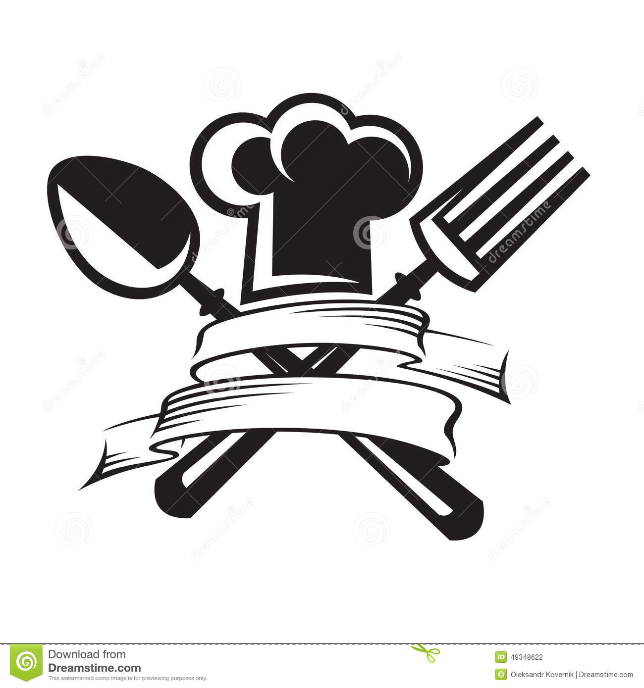 Chef Hat With Spoon And Fork Stock Image