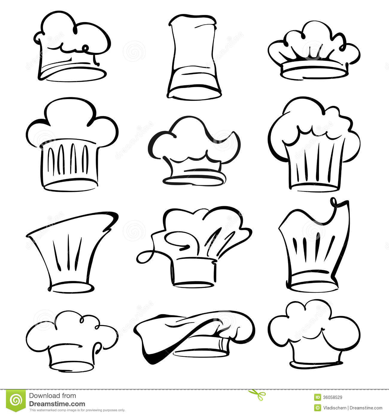 Chef Hats Collection Cartoon Vector Illustration Royalty